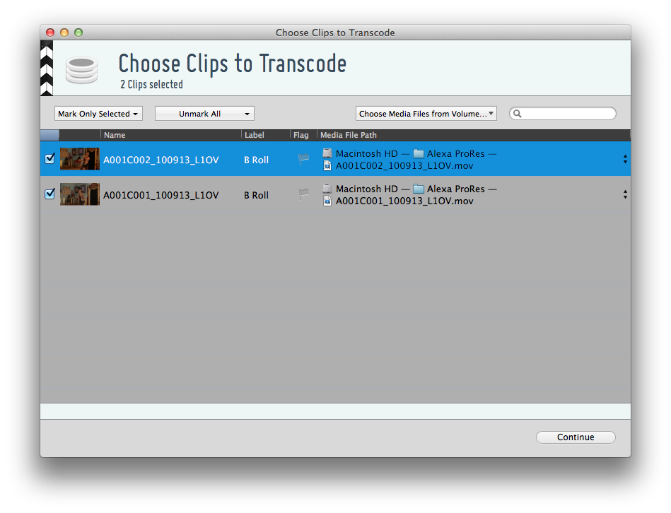 figure 1: clip selection wizard