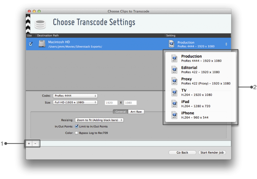 figure 2: transcoding wizard