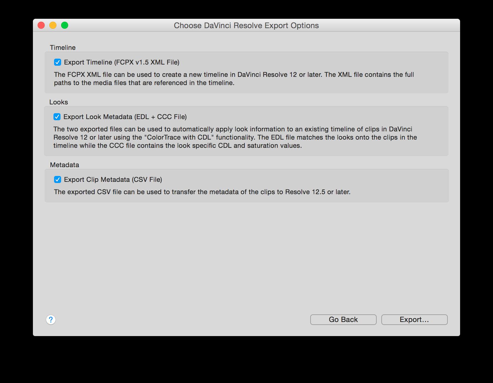 Transfer Clips to DaVinci Resolve Including Clip and Color Metadata