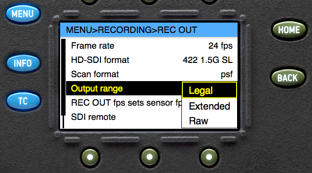 HD-SDI output configuration in the ARRI Alexa menu structure