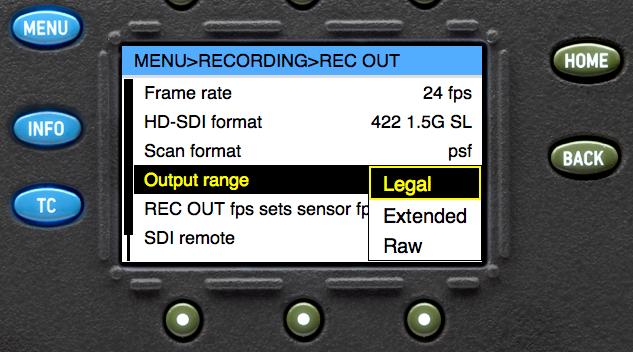 HD-SDI output configuration in the ARRI Alexa menu structure