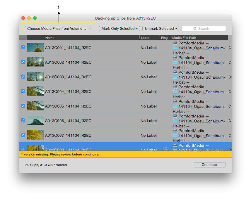 "Figure 2: Silverstack ""Copy""-wizard: Choosing the clips"