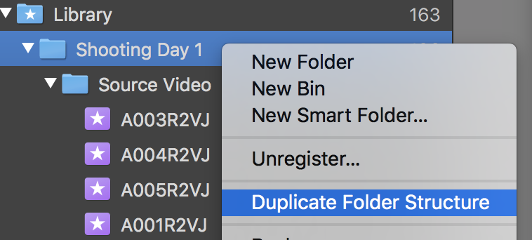 Fig. 3: Duplicating the folder structure of a folder