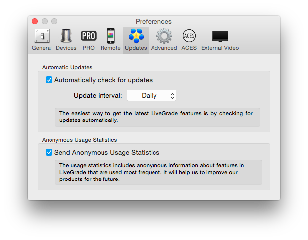 figure 5: Updates Preferences