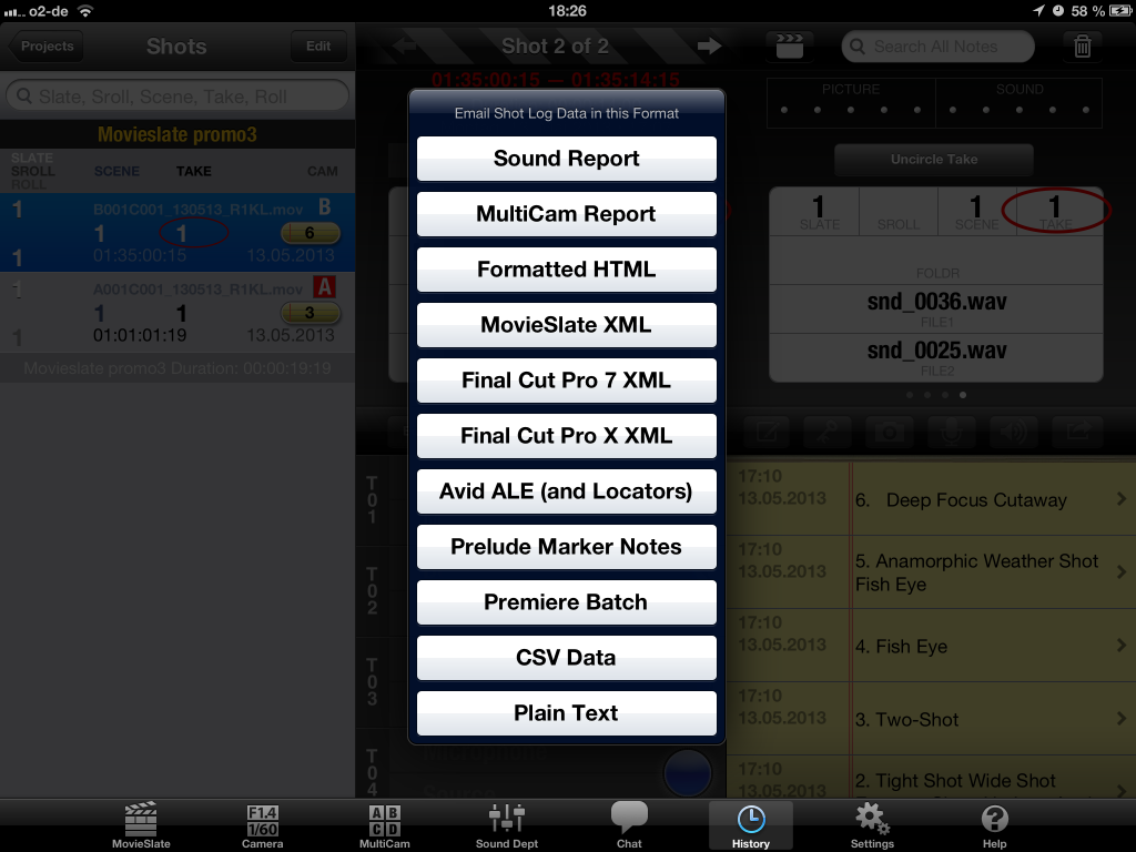 "Figure 7: ""Shows Export Formats in MovieSlate App"""