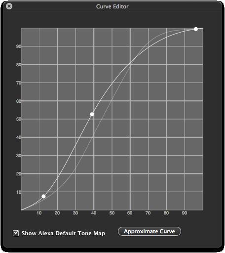 Figure 2. Alexa mode curve editor