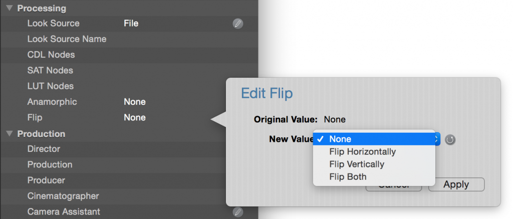 figure 3: image flipping settings
