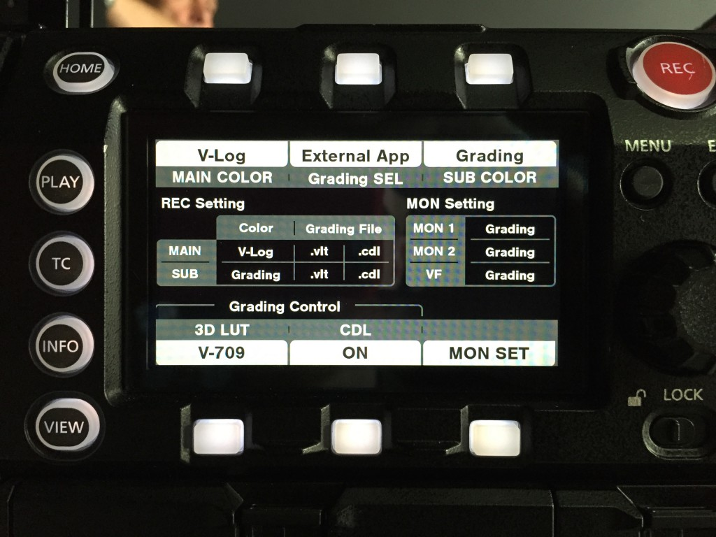 figure 2: enabling grading on the Varicam 35