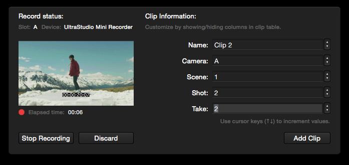 figure 6: video recording metadata panel