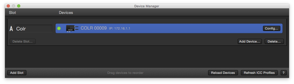 Device Manager with Teradek COLR
