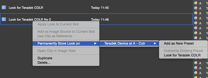 Figure 6: Permanently store a look on the Teradek COLR.