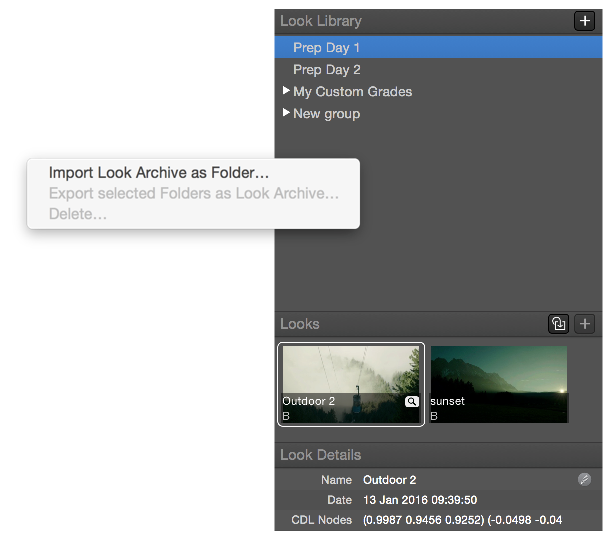 Figure 7: Importing a Look Archive as a folder.