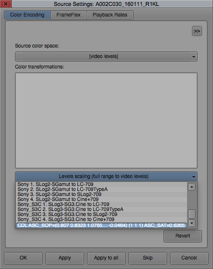 Figure 3: Choose the CDL ASC_SOP and ASC_SAT values from the bottom of the dropdown list.