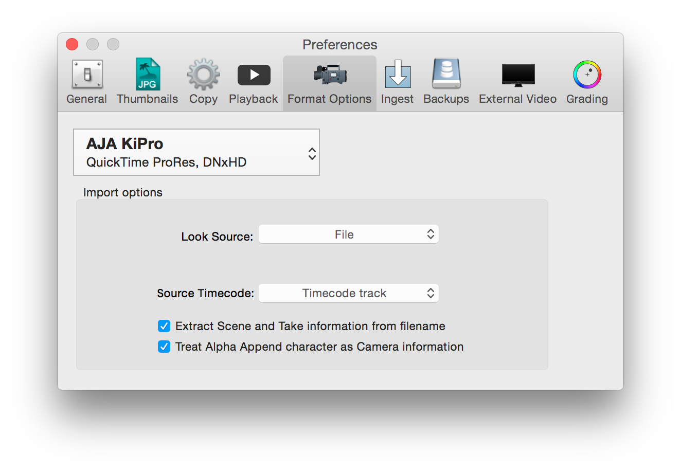 figure 6: format options for AJA KiPro