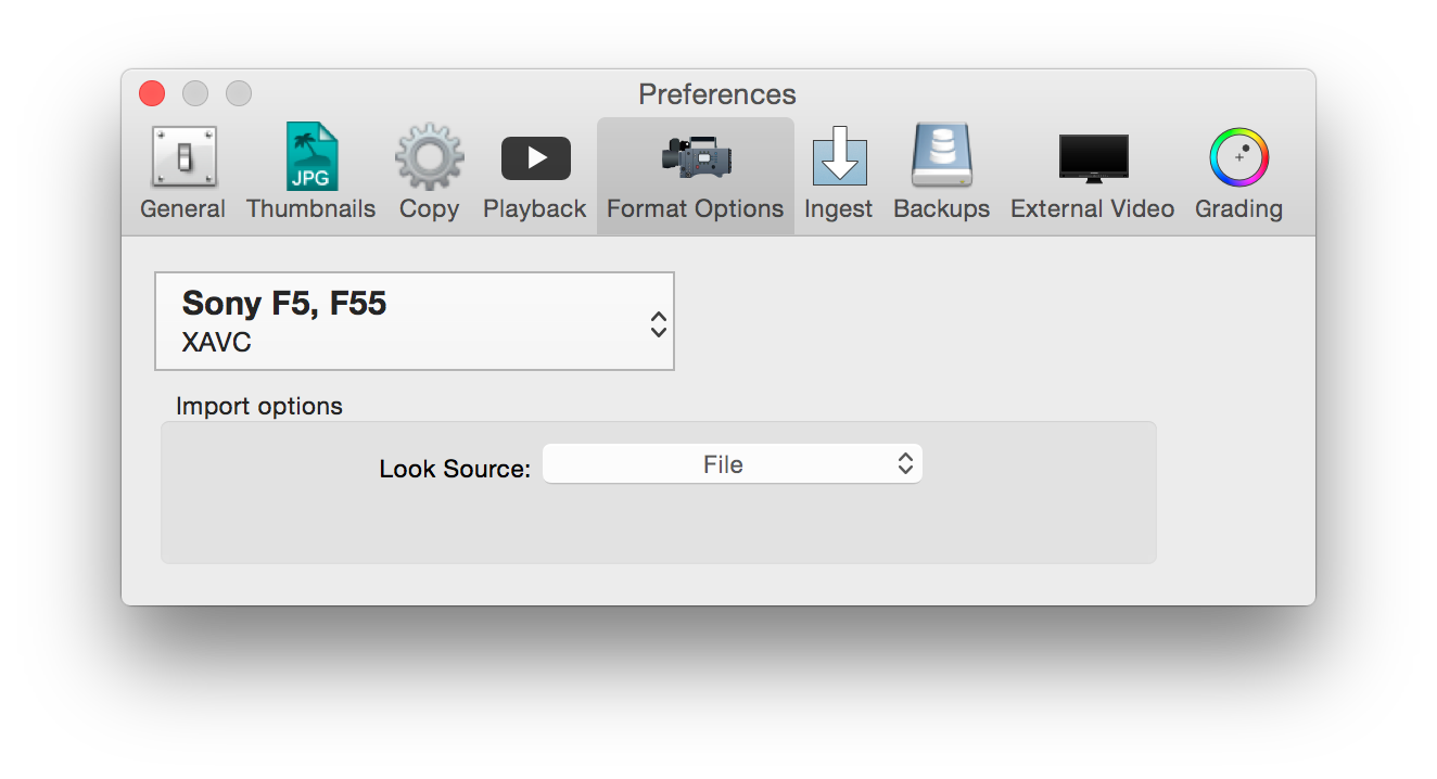 figure 12: format preferences for Sony F5/F55/F65 XAVC clips