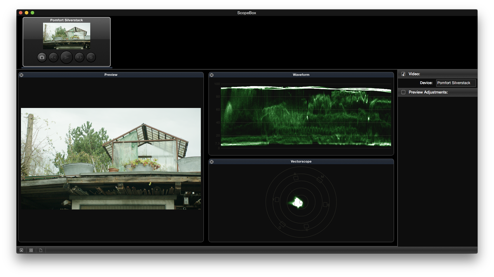 Figure 3: The ScopeBox UI with a preview of the Silverstack clip and scopes.