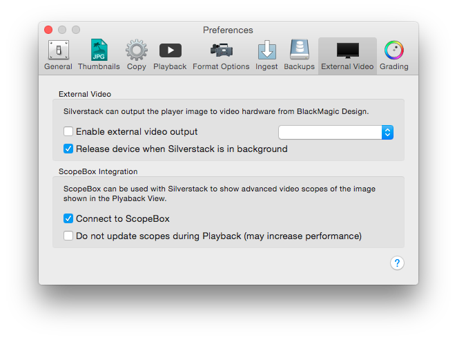 Figure 4: ScopeBox Preference in the External Video tab
