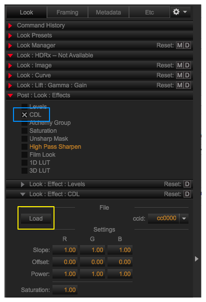 "Figure 4: The REDCINE-X ""Look"" tab with the CDL effect."