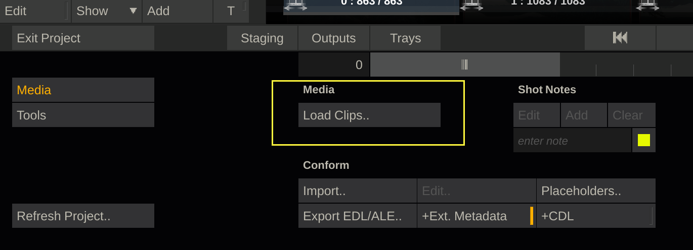Fig.3: Click the Load Clips button to add clips to Scratch.
