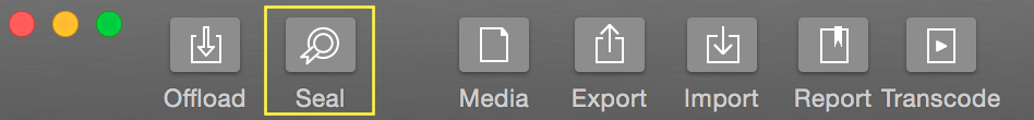 """Fig. 2: The Silverstack header bar with the """"Seal"""" button"""