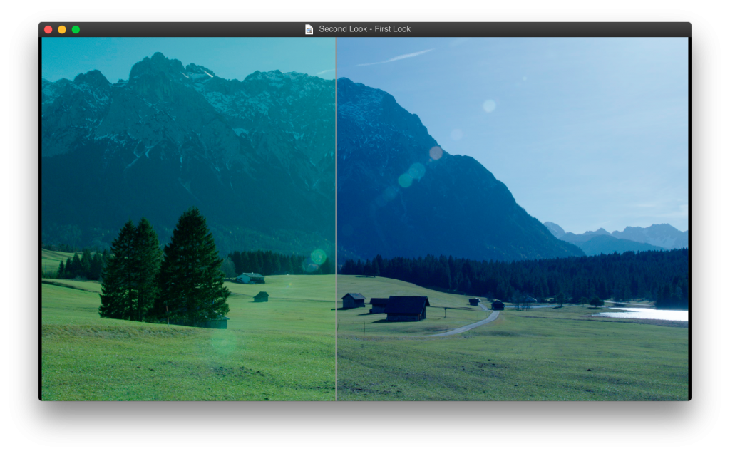 Fig. 3: LiveGrade Image Viewer with a reference image set in split screen.