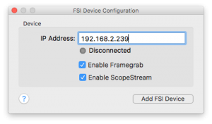 Fig. 9: Enable ScopeStream when adding a FSI device.