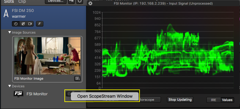 Fig.11 : Reopening the ScopeStream window.