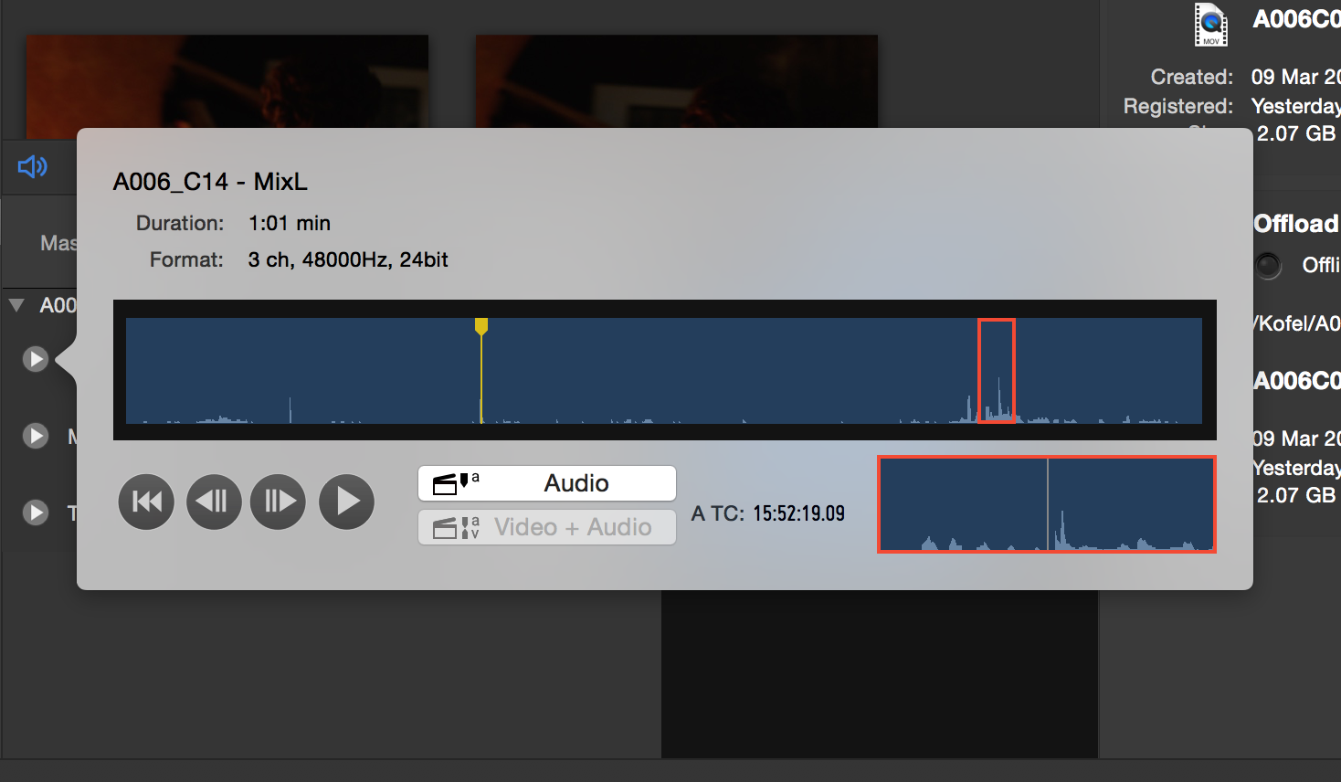 Fig x: The audio tracks panel to listen to a single audio track
