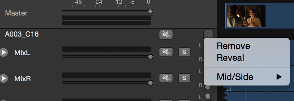 Fig. 9: Remove an audio clip from from inside the gear menu