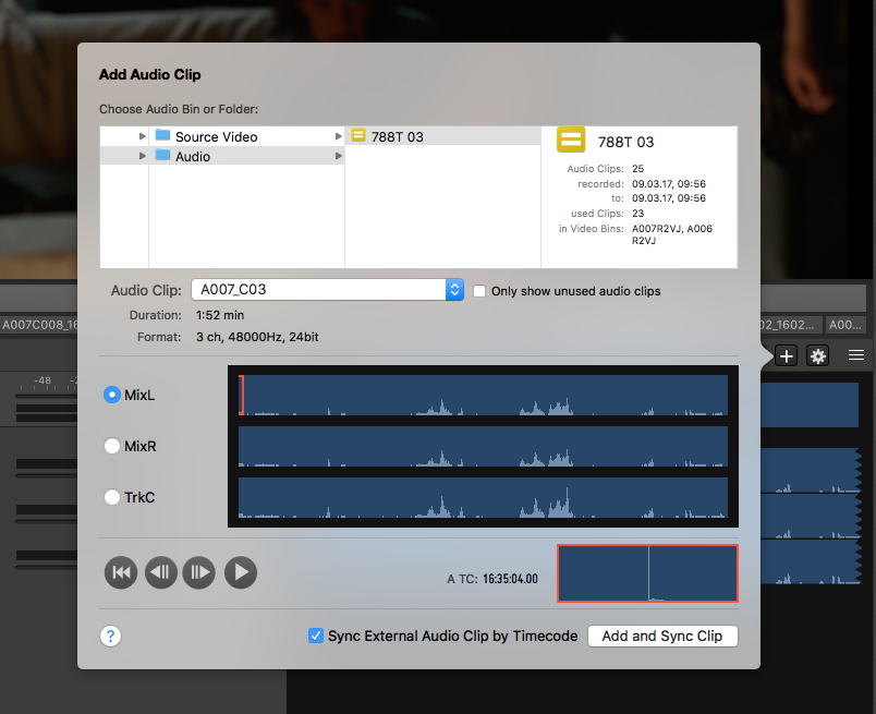 Fig. 14: Add an external audio clip manually and sync it by TC