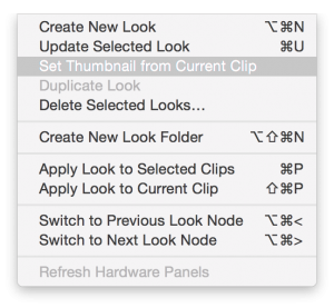 """Fig. 5: The """"Look"""" menu with functionality to create and apply looks"""