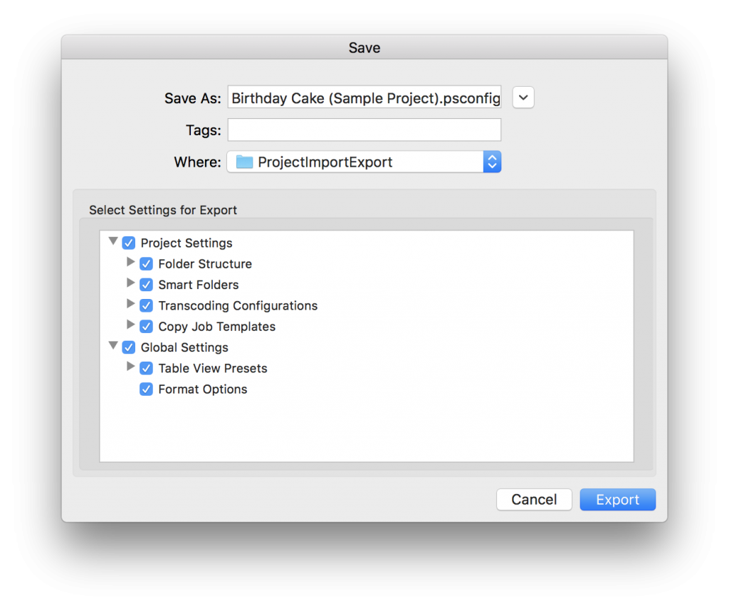 Fig. 2: Export project settings options