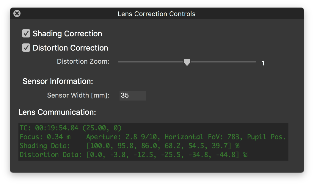 Fig. 6: The lens correction controls window