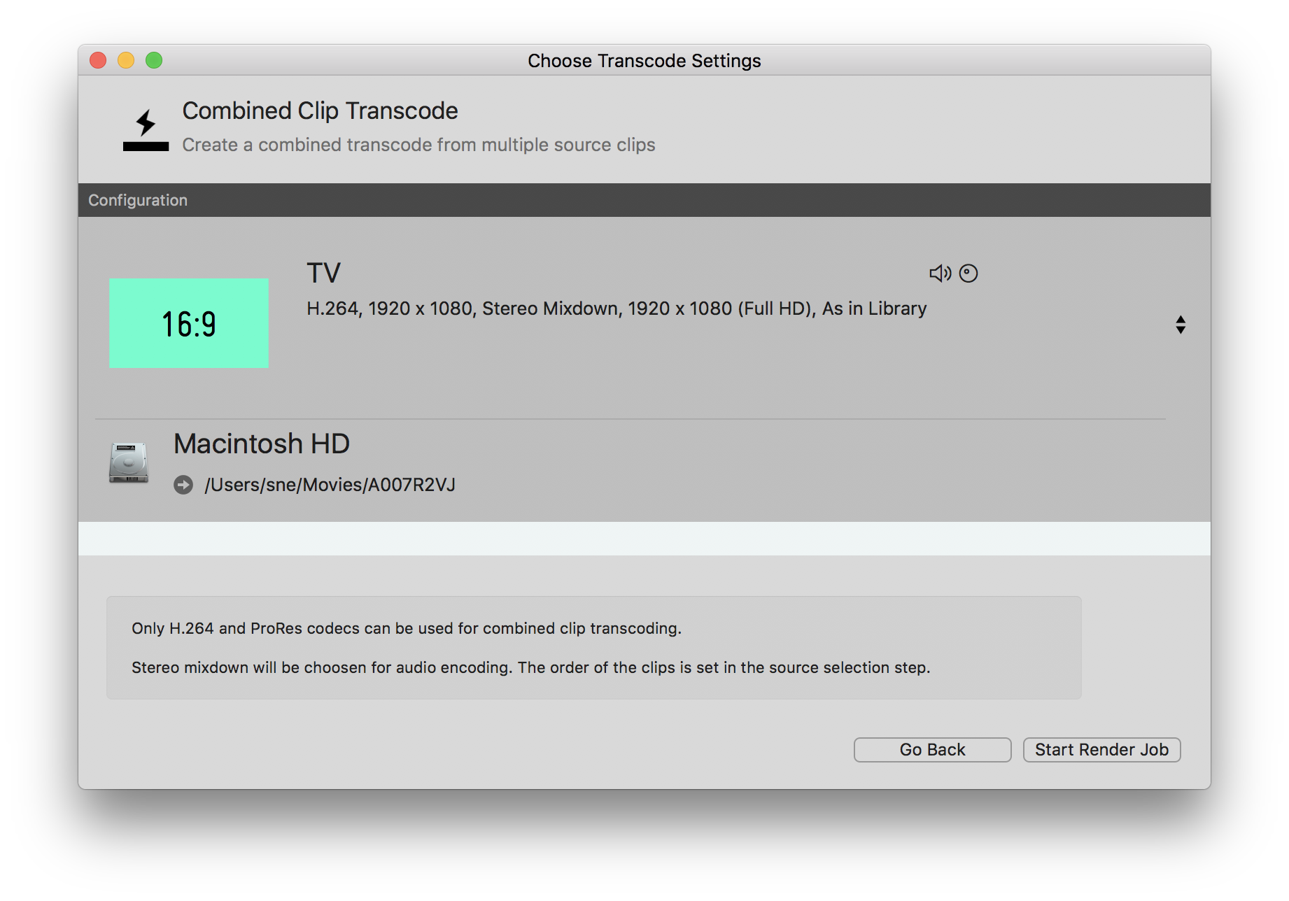 Fig.3: Choose the transcode settings for the combined clip