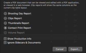 figure 9: Contact Prints Report customization