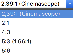 fig 5b: The list of custom aspect ratios