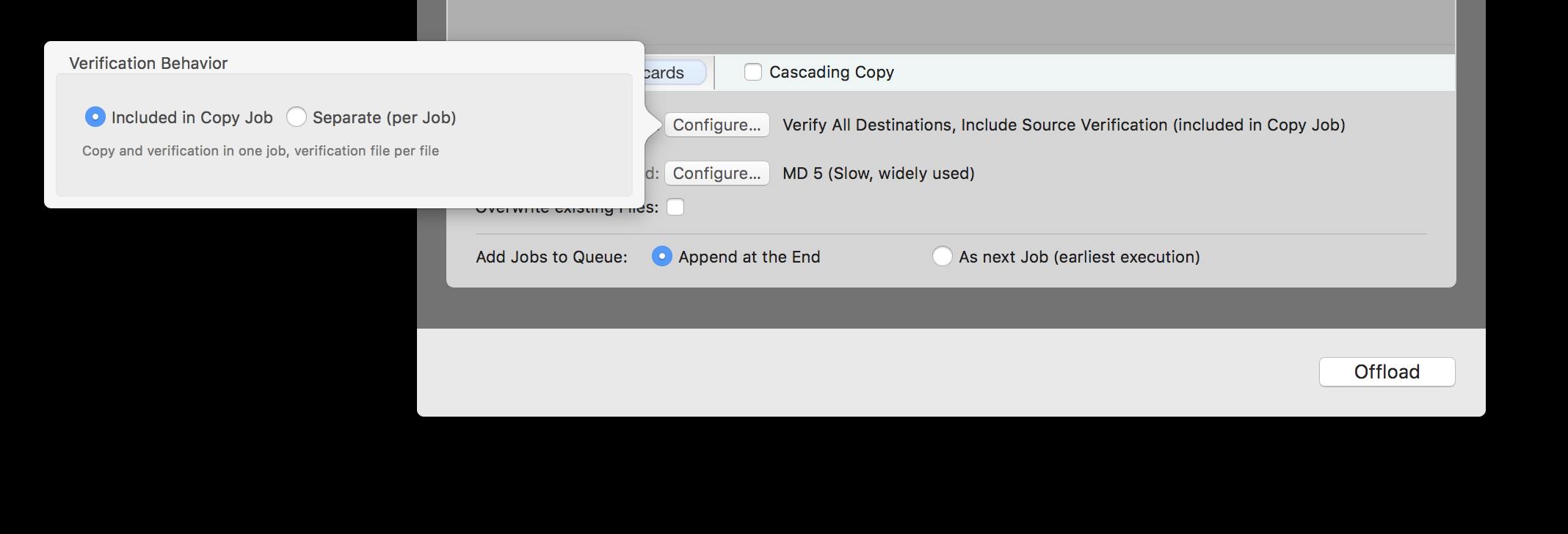 "Fig.1: Verification behavior ""Included in Copy Job"""