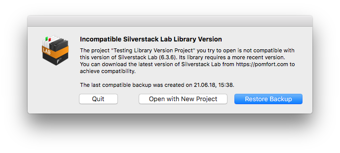 "Fig. 1: The ""Incompatibly Silverstack Lab Library Version"" Alert, applies also to Silverstack"