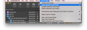 Apply selected Look Preset drop down menu
