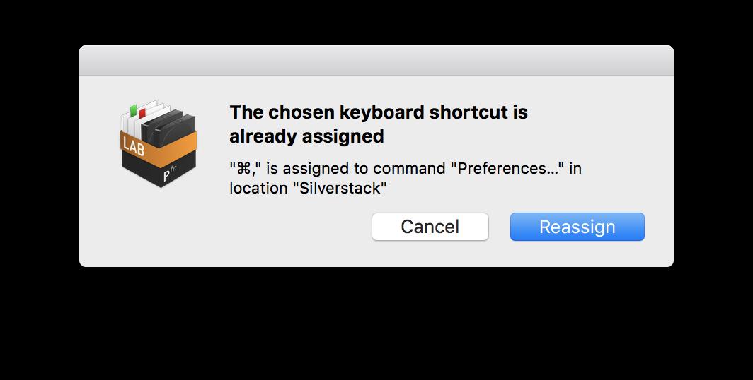 Figure 2: Alert showing used keyboard shortcut