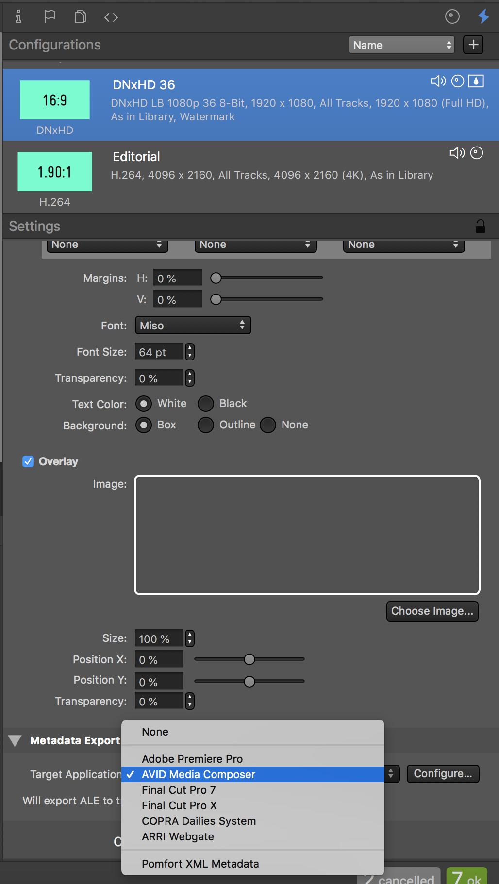 """Fig.1: Make sure that """"AVID Media Composer"""" is set as target application"""
